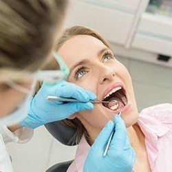 Woman during dental treatment