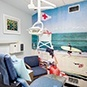 Beach-themed dental exam room